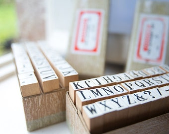 Wooden alphabet rubber stamp set Medium, capital letter stamps crafting, scrapbooking, cardmaking, stationery. 1980s retro office supplies