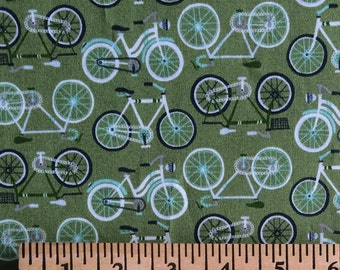 SALE // Green Bicycles Cotton Fabric