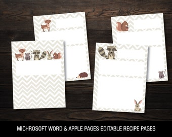 Woodland Animals Recipe Pages // Microsoft Word & Apple Pages Editable // Letter Size