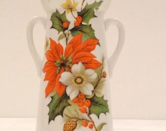 Vintage poinsettia china vase with gilt rim