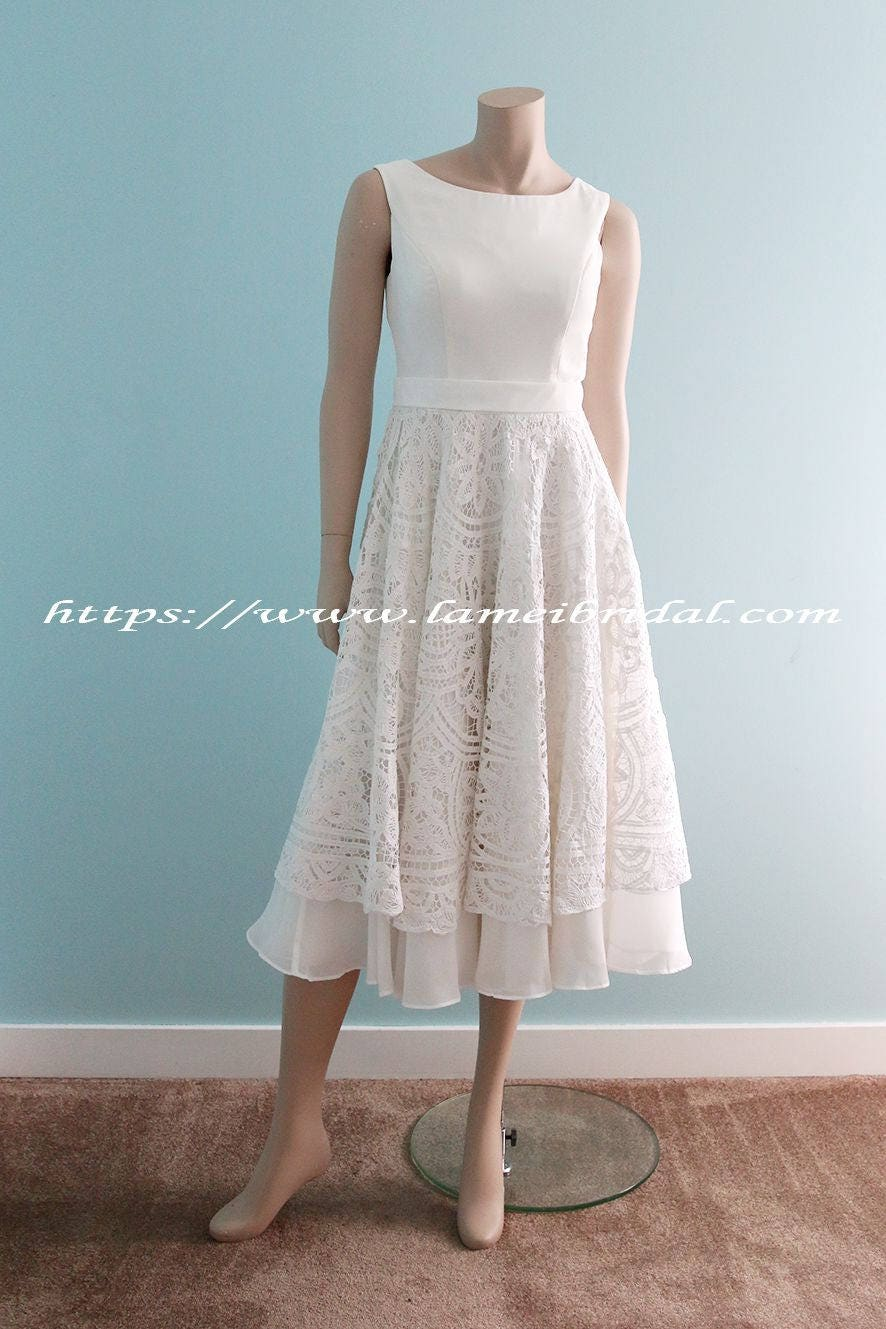 Custom Tea length low back battenburg lace wedding dress