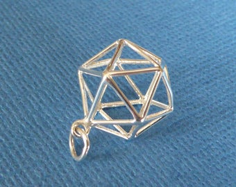 Sterling Silver Icosahedron Pendant ~ Sacred Geometry ~  Three Dimensional Openwork ~ 20mm x 14mm