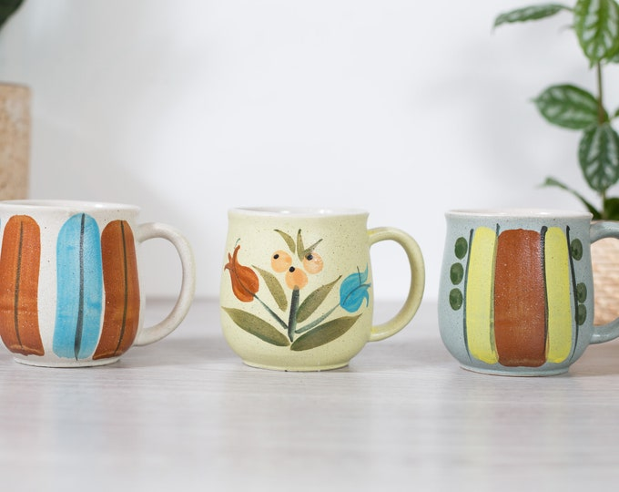 Vintage Painted Mugs - 3 Handmade Mid Century Modern Ceramic Mugs with Minimalist Artwork