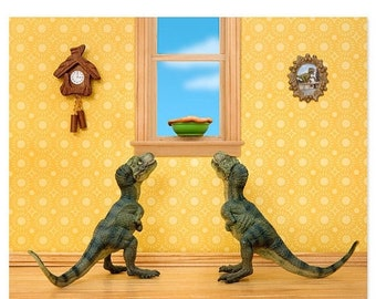 35% OFF SALE T. Rex twins dinosaur decor art print: Primordial Pie