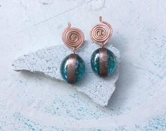 Copper and glass post earrings, dangle earrings, handmade, unique,