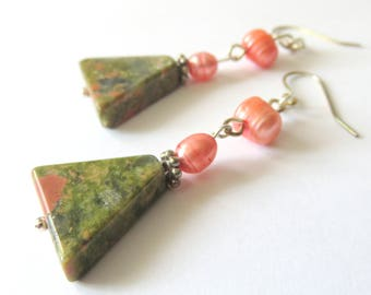 Unakite Gemstone Earrings, Peach Freshwater Pearls, Green Gemstone Triangles, Unique Gift for Someone Special, Geometric Style Earrings