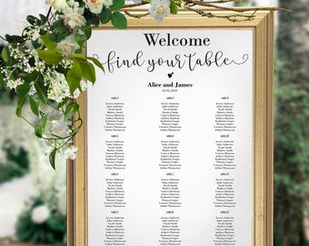 Wedding Seating Chart, Wedding Seating Chart Sign, Seating Chart Printable, Seating Chart Template, Seating Board, Instant,  PDF, #HQT010_9