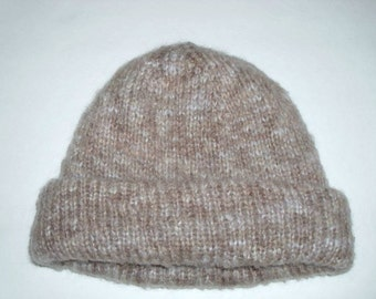 Double layered hat hand knit. Winter beanie hat for women.M size. Marble beige and grey, mohair wool  acrylic variegated yarn. Ready to ship
