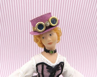 Steampunk violet hat with goggles in 1:12 scale