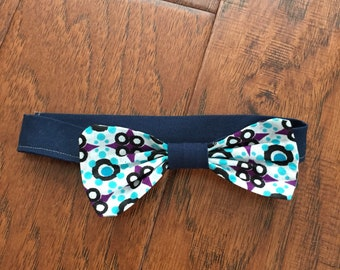 Navy blue and lught blue bow tie - velcro back boys' bow tie