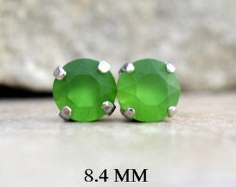 8.4mm, Fern Green Matte, Set Stud Earrings, Rhinestone Studs, Green Crystal Studs, Handmade Studs