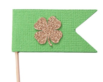 Gold Four Leaf Clover Cupcake Toppers - Saint Patrick's Day Cupcake Toppers - Flag Cupcake Toppers - Irish Gold - Saint Patrick's Day Party