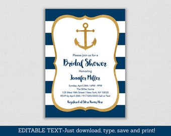 Nautical Bridal Shower Invitation / Anchor Bridal Shower Invite / Nautical Bridal Shower / Navy & Gold / Editable PDF INSTANT DOWNLOAD B101