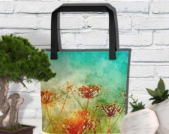 Tote Bag, Floral Theme Shopping Bag, Birthday Gift for Garden Nature Lover, Fourth Year Flower Anniversary Gift for Wife,