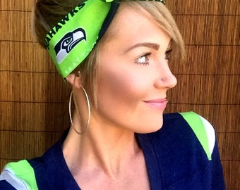 Seattle Seahawks Dolly Bow Reversible Pinup Rockabilly Dolly Bow Twist Tie Up Hawks Headband Headscarf Hair Band Head Wrap Accessories