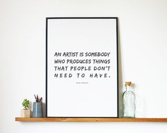 Wall Art Quote by Andy Warhol Inspirational and Motivational Digital Posters