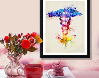 "Fine Art Print - ""Watercolor Caduceus "" -8.5"" x 11"", Medical print, Registered Nurse Gift, Nurse Graduation gift, Watercolor Splatter art"