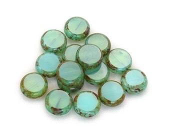 Aqua Blue Green opaline glass w/ picasso 11mm coins. Set of 8, 15 or 30.