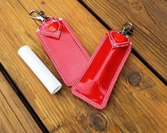 Lip Balm Holder, Lip Balm Key Chain, lip balm stick holder, makeup party gift, party favor, lip key chain, lip balm key fob by Sew4MyLoves