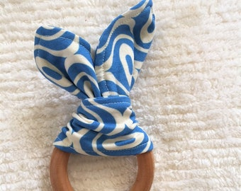 Mod Blue wooden teething ring