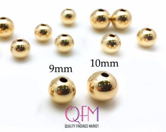 5pcs Gold Filled Beads - Gold Filled Seamless Round Spacer Beads 9mm, 10mm - GF beads - Yellow gold filled beads - Gold filled Spacer bead