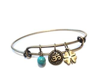 Om Bangle Bracelet, Namaste Gift, GIFTS For Her, Yoga, Jewelry, Namaste Bracelet, Christmas Gift, Stocking Stuffer, Unique Bangle Bracelet