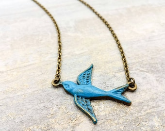 Bird Necklace, Verdigris Patina Swallow Bird Necklace, Flying Bird Sideways Charm, Nature Woodland Rustic Boho Chic Bohemian, Gift For Her