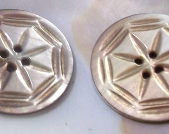 Pair of Vintage Carved Mother of Pearl Buttons-Item# 104