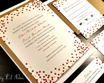 Sparkle Glitter Holiday Winter Custom Unique Wedding Invitation Party Christmas Winter Red Gold Confetti New Years Modern Fun Ombre Black