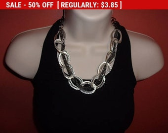 Vintage Chunky silver tone chain necklace, estate jewelry