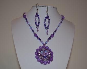 Purple Earrings & Necklace Set