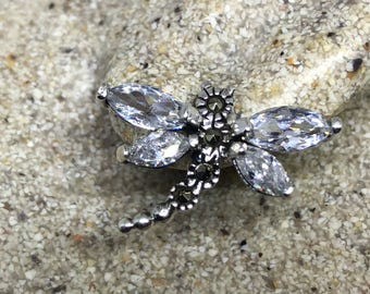 Real Clear Crystal Cubic Zirconia Dragonfly Marcasite 925 Sterling Silver dangle earrings