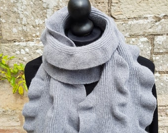 Sale Scottish angora/wool scarf.  Unique ruffle design which looks stylish and individual. Machine knit and hand finished