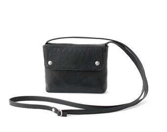 Black Crossbody Purse, small leather purse, evening bag, black cross body bag, mini leather handbag