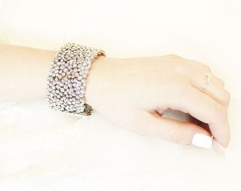 Bridal bracelet with crystals