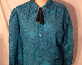 Vintage Teal Paisley Long Sleeve Button Up Blouse by Lady Manhattan Size 18