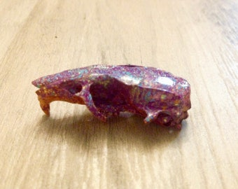 Real Animal Bone Art - Hand Painted - Mouse or Rat Skull -- Multicolored Rainbow