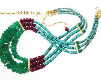 Featured in British Vogue Statement Necklace Ruby Turquoise Green Onyx Necklace July Birthstone Adjustable GEM-N-185-JulyBirthstones