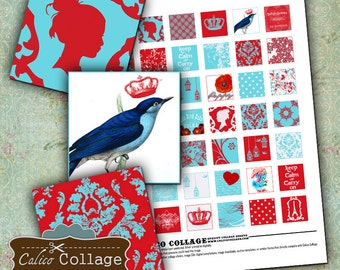 Aqua and Red 1x1 Inch Square Digital Collage Sheet Decoupage Paper Jewelry Supply Digital Download Scrapbooking CalicoCollage Digital Images