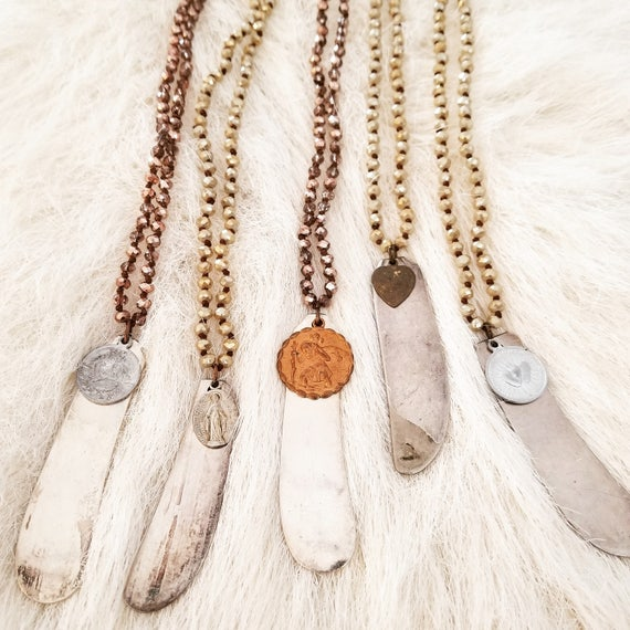 Long, Crystal Beaded and Soldered Necklaces
