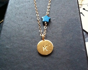 I will reach for the stars unashamed 24K Gold vermeil custom stamped initial turquoise star necklace