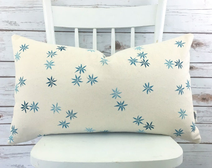 Handprinted blue and white starflower lumbar pillow!