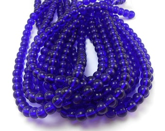 40 Cobalt Blue Glass Beads 8mm round