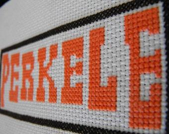 cross stitch pattern Perkele finnish curse word