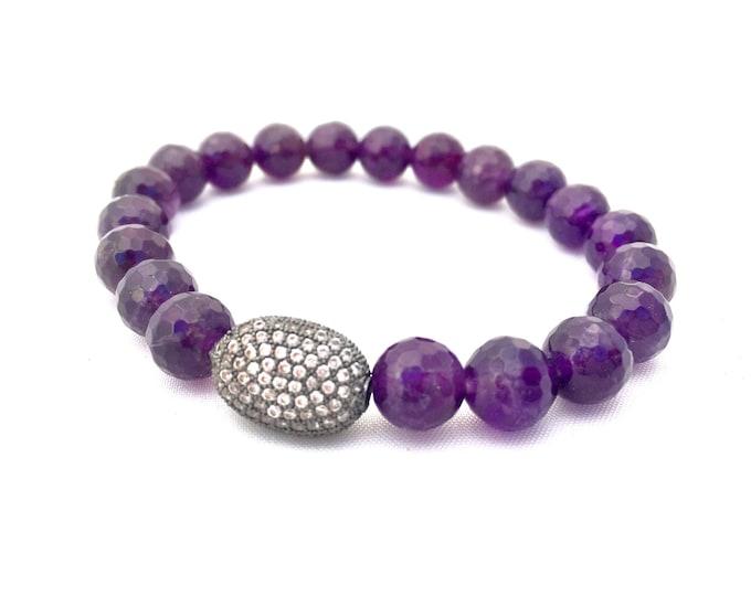 Amethyst Bracelet- 8mm Faceted Amethyst Bracelet- Reduce Stress and Anxiety- Amethyst Gemstone Bracelet-  February Birthstone- Gift for Her
