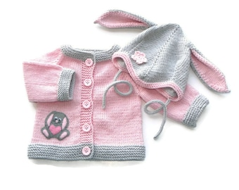 Knit baby girl set pink and gray baby jacket and bunny hat MADE TO ORDER