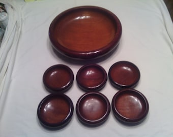 Vintage 7 pc. Set Mid Century Haitian Caribcraft Solid Mahogany Wooden Bowls