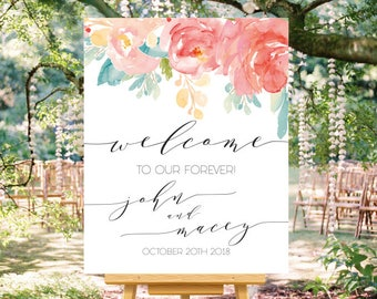Blush and Blue Floral Watercolor Printable Welcome Wedding Sign, Custom Welcome Sign, Printable Wedding Sign