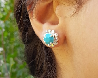 Turquoise Earrings Silver Stud, Turquoise Earrings, Turquoise Earrings Silver, Stud Earrings, Silver Stud Earrings, Turquoise Earrings Stud