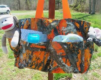 Blaze Orange Camo Diaper Bag
